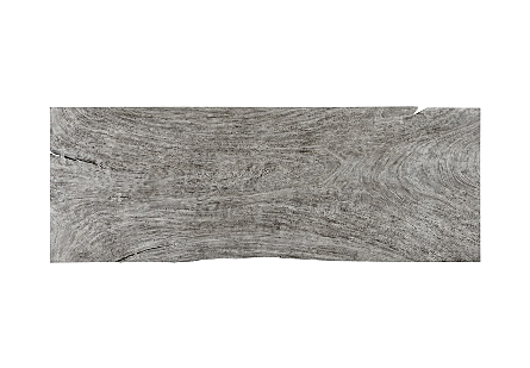 Picture of CHAMCHA WOOD DINING TABLE GREY STONE, BRUSHED STAINLESS STEEL LEGS