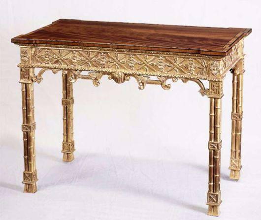 Picture of CHINESE CHIPPENDALE STYLE MAHOGANY & GILTWOOD SILVER TABLE