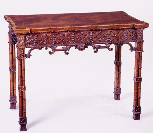 Picture of CHINESE CHIPPENDALE STYLE MAHOGANY SILVER TABLE