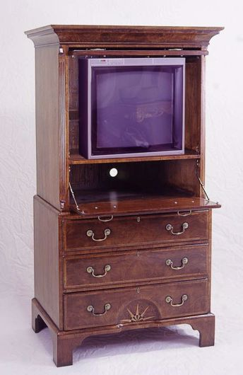 Picture of GEORGE I STYLE WALNUT CHEST ON CHEST TV CABINET