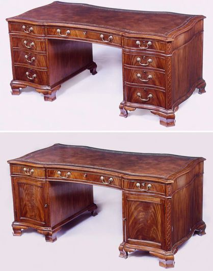 Picture of CHIPPENDALE STYLE MAHOGANY PARTNERS DESK
