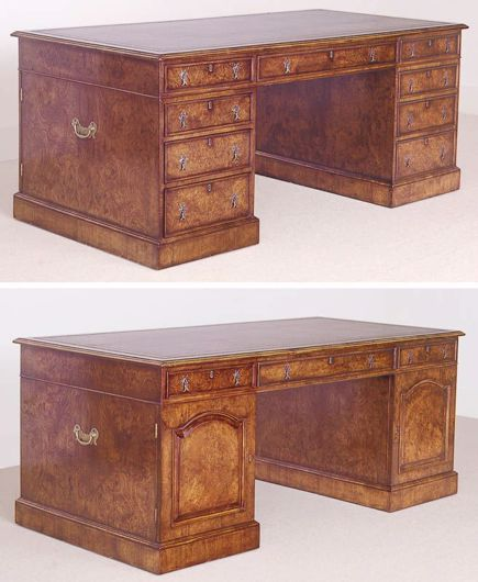 Picture of GEORGE III STYLE BURL WALNUT PARTNERS DESK