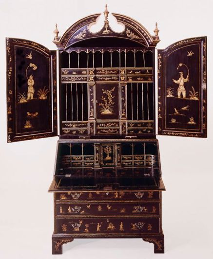 Picture of GEORGE II STYLE BLACK & GOLD LACQUERED BUREAU BOOKCASE