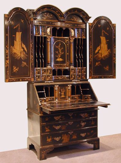 Picture of GEORGE I STYLE BLACK AND GOLD LACQUERED BUREAU BOOKCASE
