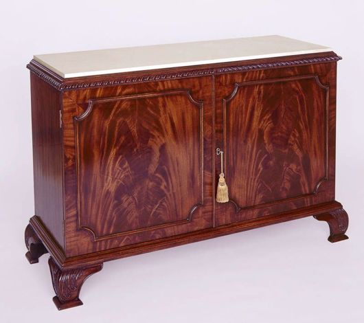 Picture of CHIPPENDALE STYLE MAHOGANY CABINET WITH MARBLE TOP