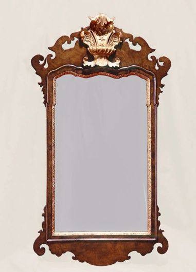 Picture of GEORGE II STYLE BURL WALNUT AND GILTWOOD MIRROR