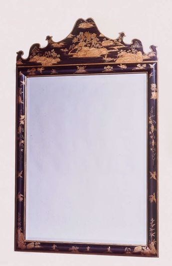Picture of CHARLES II STYLE CHINOISERIE BLACK & GOLD LACQUER MIRROR