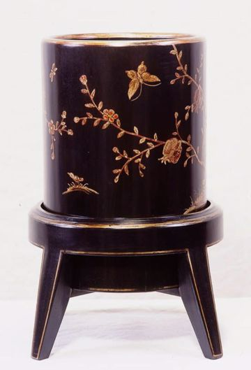 Picture of CHINOISERIE WASTE BASKET ON STAND
