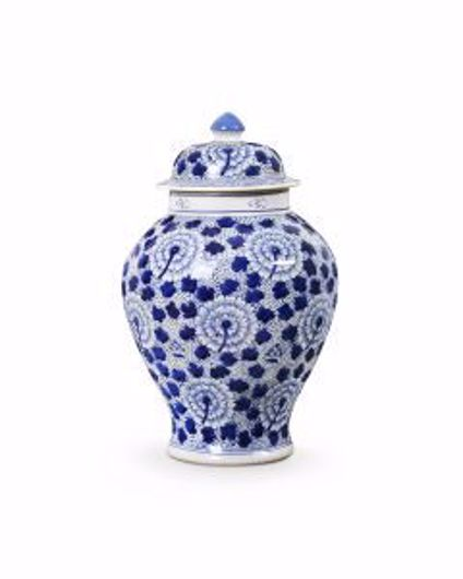 Picture of FLOWER TEMPLE JAR BLUE & WHITE